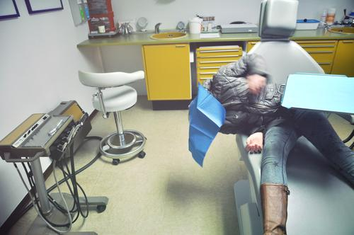 wait for the dentist (2) Child Girl Medical practice Dentist Dentist's chair practice furnishing Treatment room Toothache Medical treatment Wait Fear Foresight