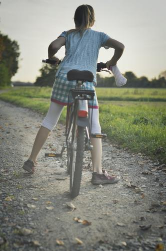 Child Nature Girl Autumn Lanes & trails Trip Field Bicycle Infancy Back Cycling Footpath Cycling tour Agriculture Driving Go up