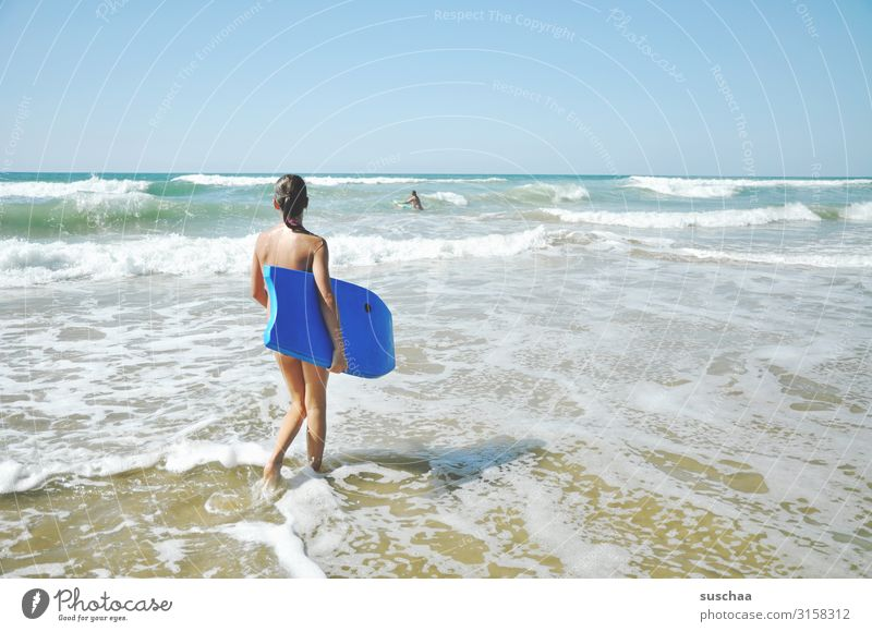 girl with surfboard on the beach Summer vacation free time Sky travel Sunlight Coast Playing Surfboard Horizon Waves Infancy Exterior shot Beach Ocean Water