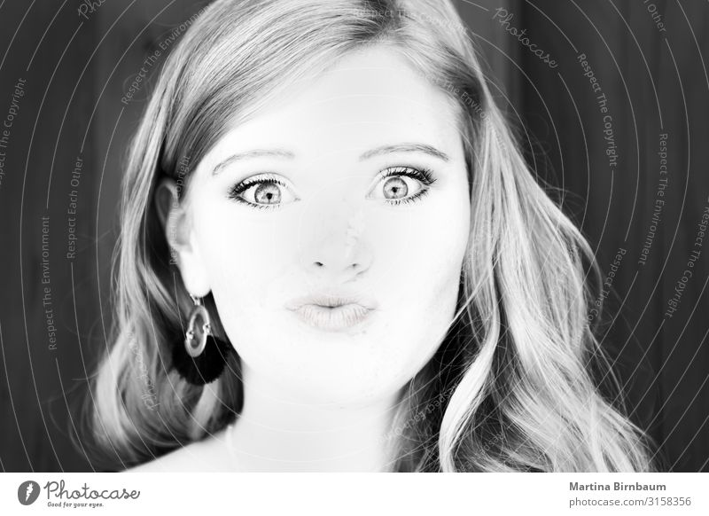 Portrait of a beautiful teenager, black and white Lifestyle Luxury Happy Skin Face Human being Woman Adults Youth (Young adults) Lips Art Fashion Authentic Free