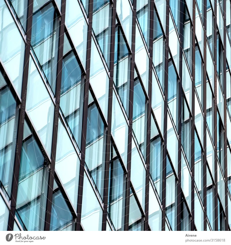 small-minded | UT Hamburg Town Downtown House (Residential Structure) High-rise Facade Window Glas facade Line Network Grid Checkered Tilt Diagonal Muddled