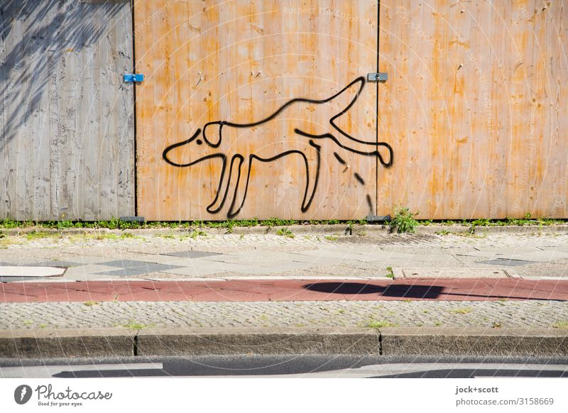 walk the dog Subculture Street art Berlin zoo Sidewalk Cycle path Hoarding Concrete Line Comic Walk the dog Make Stand Exceptional Cool (slang) Simple Under