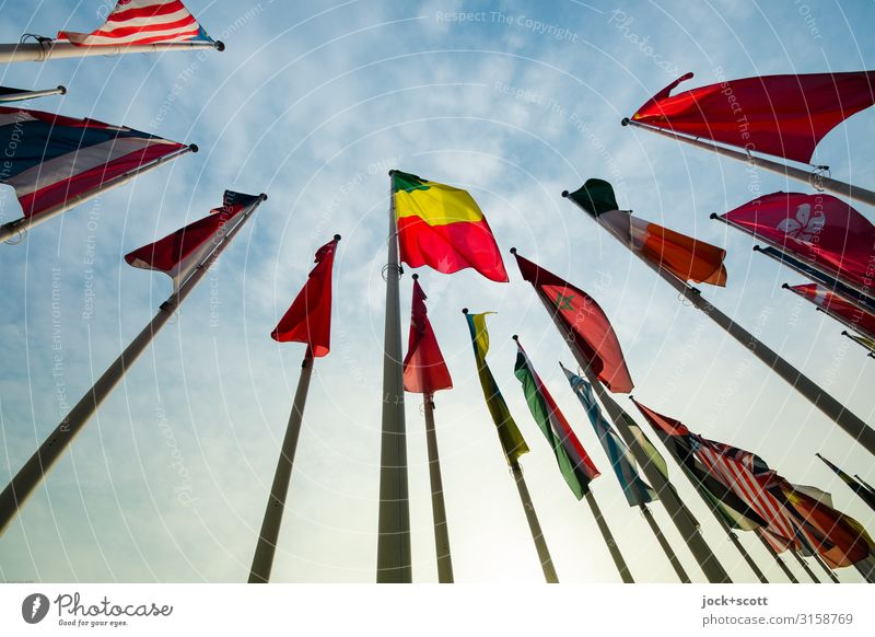 colours and symbols Event Air Sky Clouds Beautiful weather Charlottenburg-Wilmersdorf Collection Ensign Flagpole Sign Stripe Authentic Free Tall Long Above Many