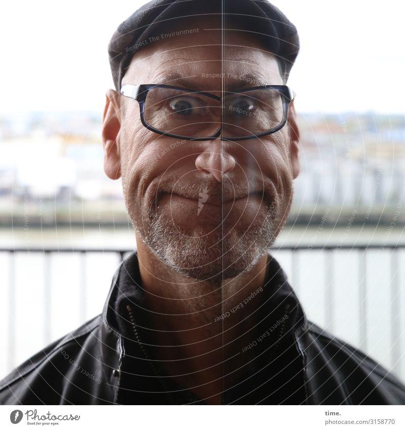 Mirror Games (II) Masculine Man Adults 1 Human being Hamburg Port City Skyline Handrail Jacket Eyeglasses Cap Designer stubble Observe Smiling Looking Creepy