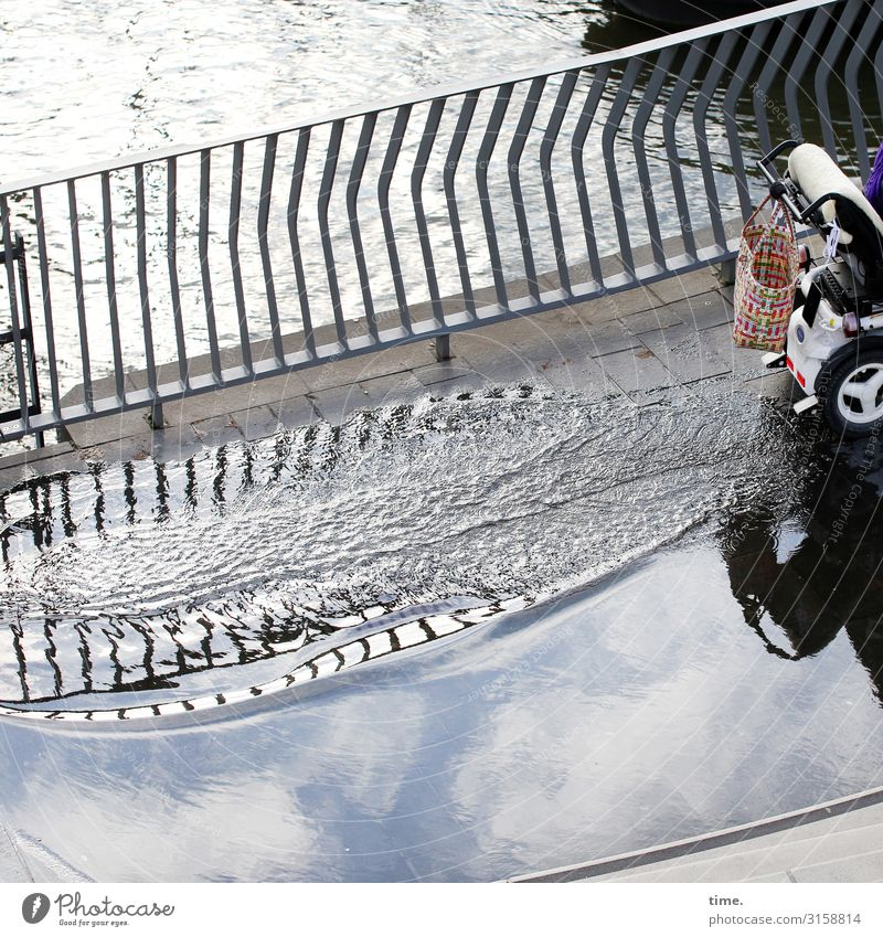wave Water Sky Clouds Beautiful weather River bank Puddle Deluge Handrail Traffic infrastructure Passenger traffic Lanes & trails Wheelchair Shopping bag