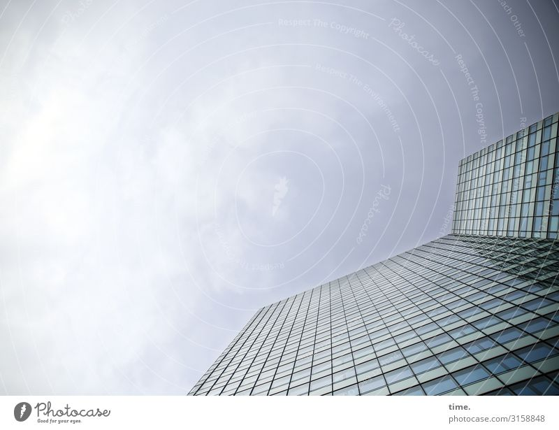 glass palace Sky Clouds Beautiful weather House (Residential Structure) High-rise Architecture Wall (barrier) Wall (building) Facade Window Glass Line Simple