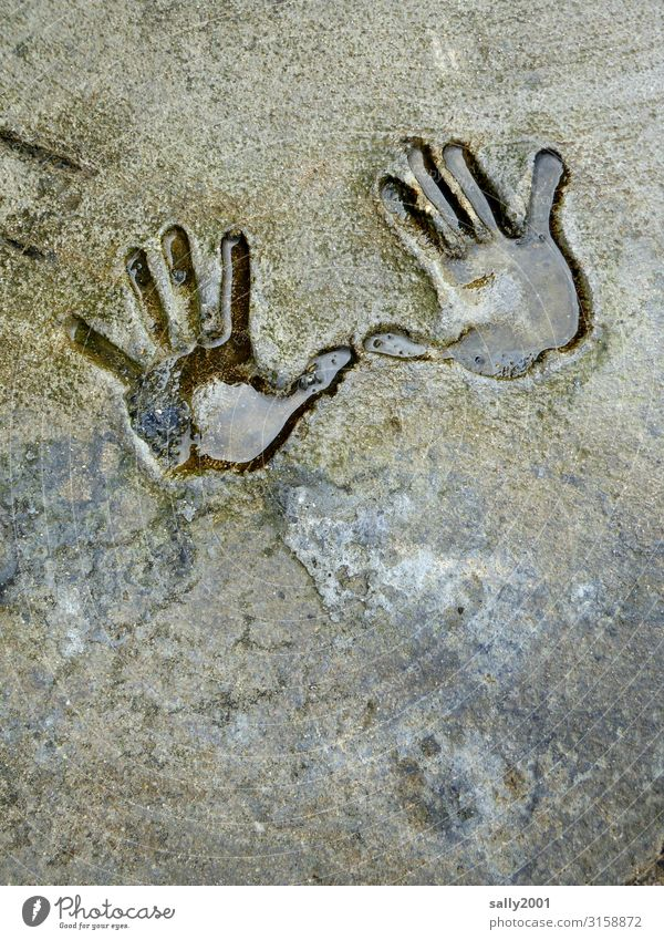 give me ten... by hand squeeze handprint Stone rock 2 hands Couple Wave gesture Human being Fingers Impression Negative Children`s hand Wet Water shape