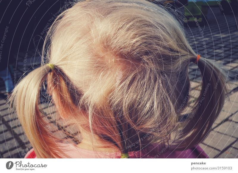 foam malt Human being Feminine Girl Infancy Head Hair and hairstyles 3 - 8 years Child Blonde Braids Observe Think Authentic Expectation Looking Colour photo