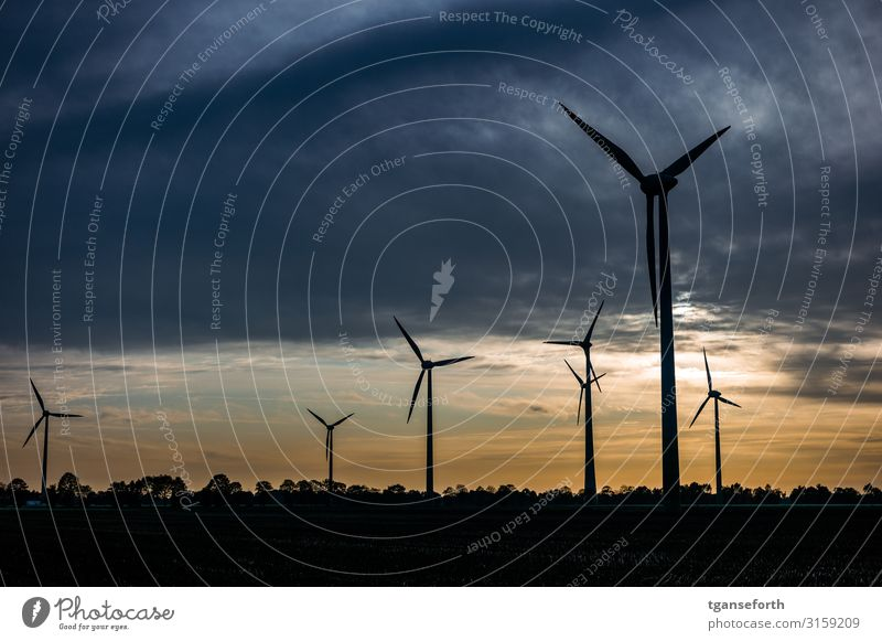 Wind farm Neudrerusum II Technology Science & Research Advancement Future High-tech Energy industry Renewable energy Wind energy plant Clouds Sunrise Sunset