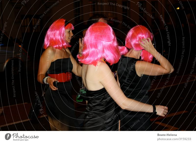 Let's Party Tonight Joy Life Leisure and hobbies Night life Event Going out Feasts & Celebrations Dance Carnival Feminine Dress Red-haired Wig Elections Observe