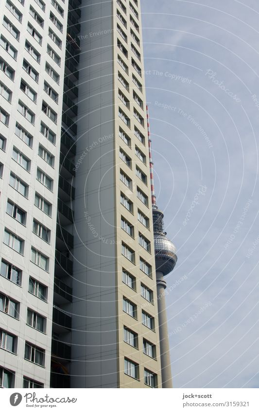 stretched plate Cloudless sky Downtown Berlin Capital city Prefab construction Tower block Facade Berlin TV Tower Famousness Tall Long Original Agreed Refrain