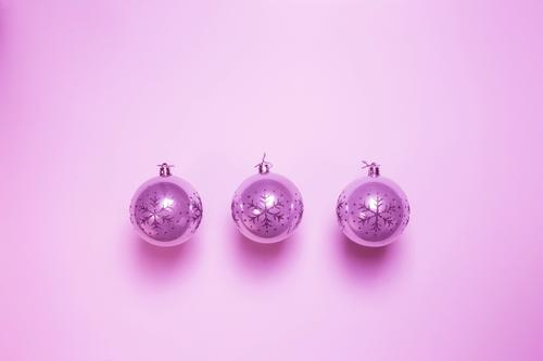 Pink Christmas ball baubles isolated on pink background, Design Happy Beautiful Winter Decoration Feasts & Celebrations Christmas & Advent Toys Ornament Sphere