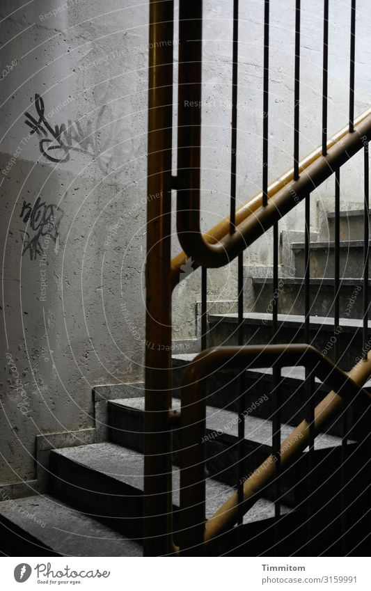 upward Underground garage Stairs Concrete Metal Graffiti Line Dirty Dark Yellow Gray Black White Emotions Claustrophobia Banister Colour photo Interior shot