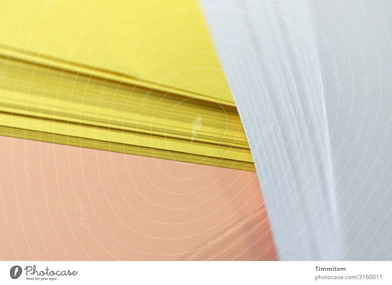 Paper on desk Work and employment Workplace Office Line Lie Clean Yellow White Ochre Stack of paper printer paper Colour photo Interior shot Deserted Day