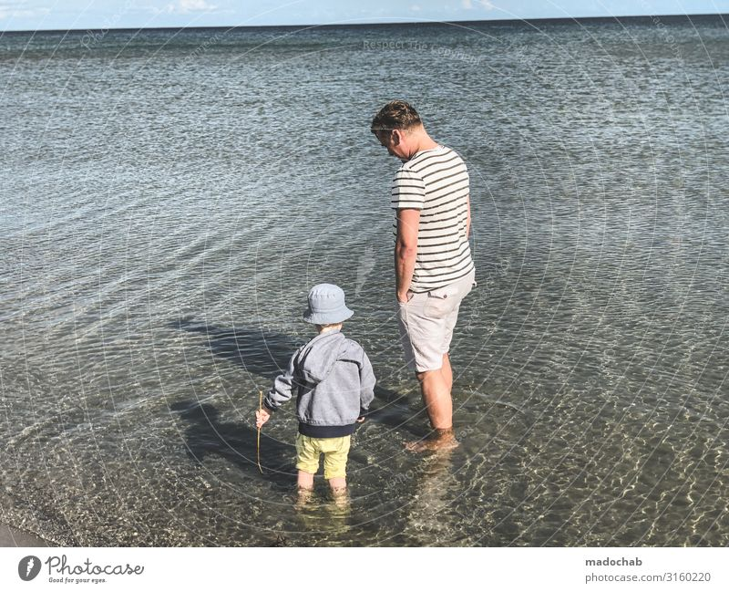 Standing in the sea Child Father vacation Ocean Water Toddler Son Relaxation Summer Family & Relations Vacation & Travel Together Nature Lifestyle people