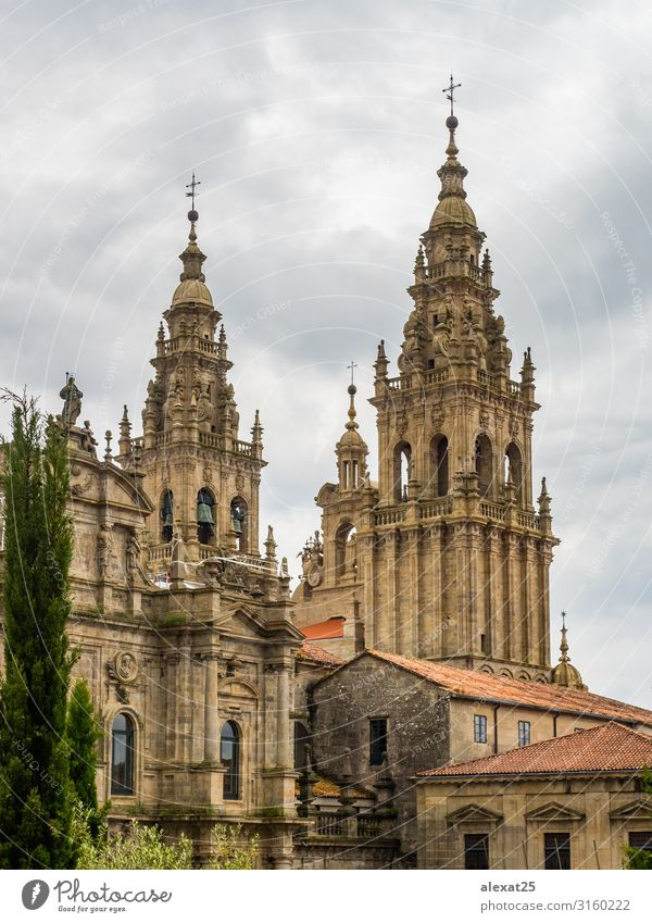 Santiago de Compostela Cathedral Vacation & Travel Tourism Church Building Architecture Facade Monument Old Religion and faith bell camino Christianity City