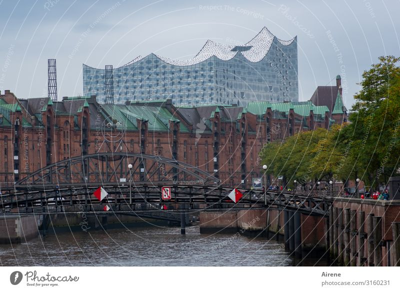 Harmony on the horizon | UT Hamburg Sky Bad weather River Channel Bridge Architecture Facade Tourist Attraction Old warehouse district Elbe Philharmonic Hall
