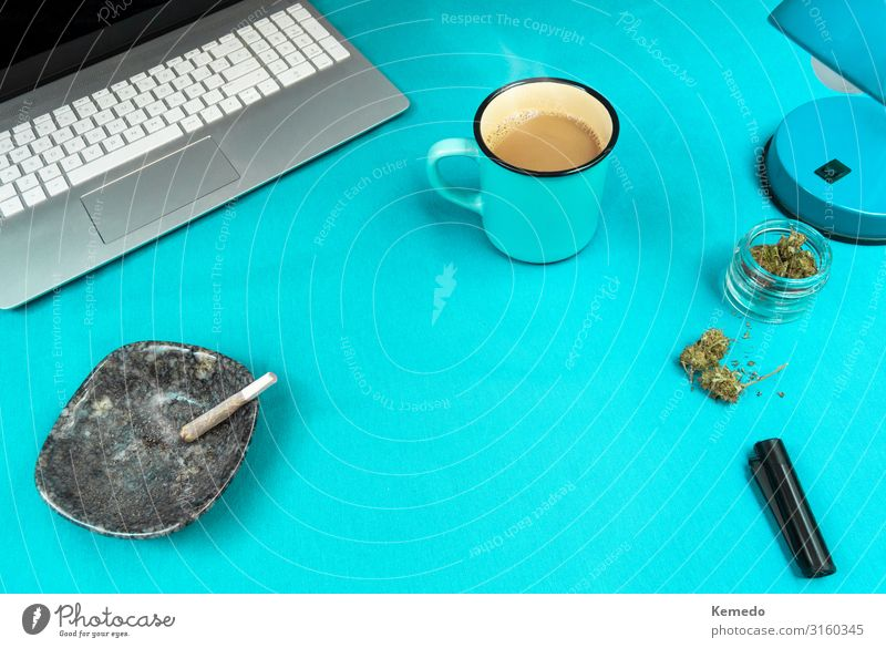 Blue work space with marijuana joint, coffee cup and computer. Colour Green House (Residential Structure) Relaxation Calm Lifestyle Interior design Natural