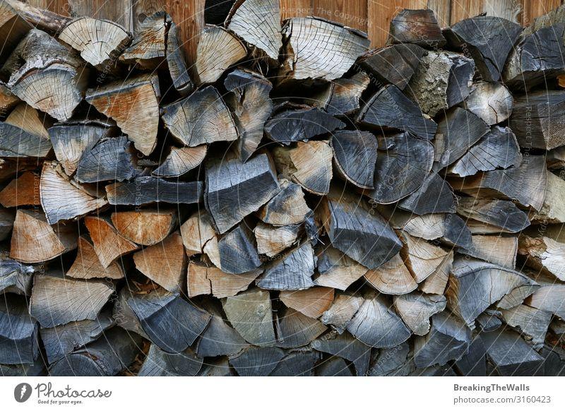 A pile of firewood stock Lifestyle House (Residential Structure) Decoration Energy industry Wood Dark Dry Brown Accumulation Stack woodpile Firewood Fuel