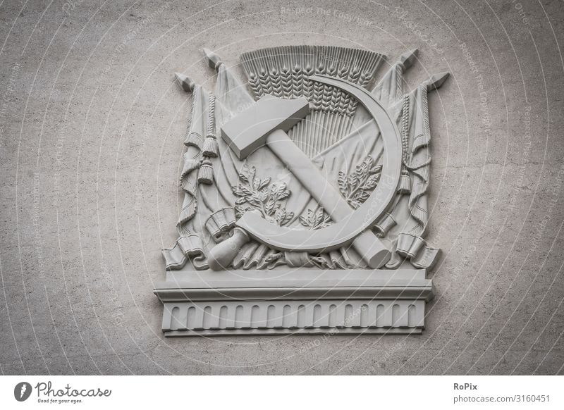 Soviet emblem on a historic building. Lifestyle Design Vacation & Travel Tourism Sightseeing City trip Education Science & Research Work and employment
