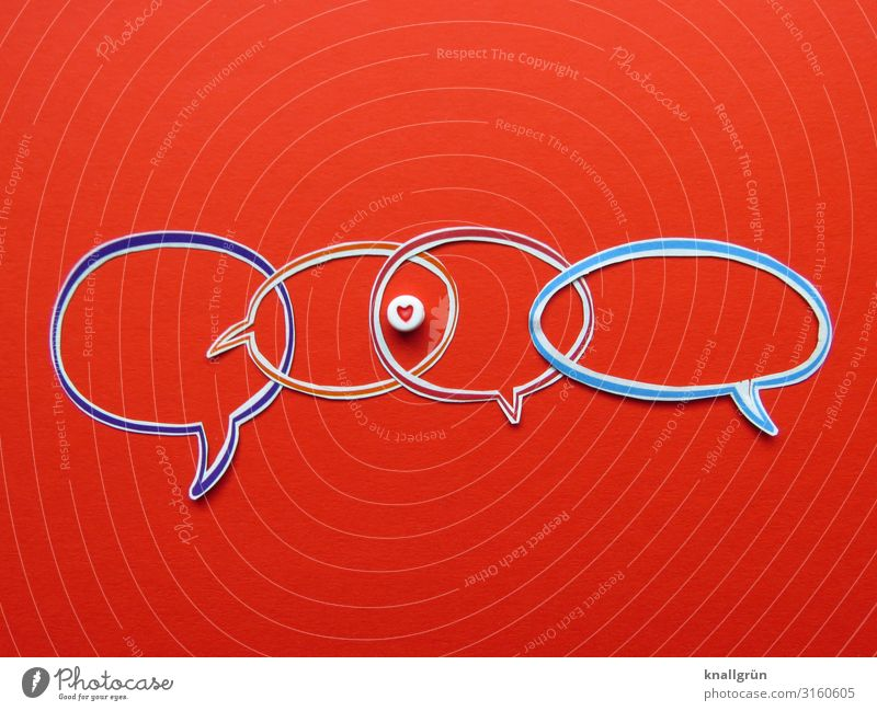 love Sign Heart Communicate Love Multicoloured Red Emotions Happy Sympathy Friendship Together Infatuation Interest Relationship Attachment Speech bubble