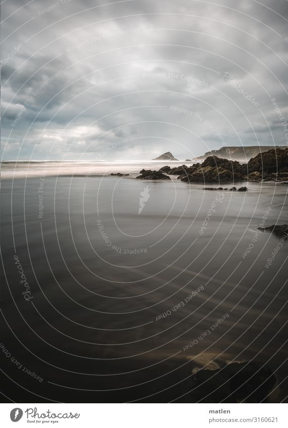 "coastal line coast,"" Ocean Beach Waves Sky Clouds Sand Horizon Asturias Brown Gray Bad weather Reef Rock Surf White crest Hi"