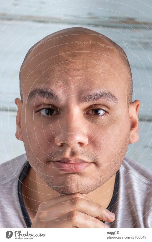Attractive bald man Lifestyle Body Hair and hairstyles Skin Face Medical treatment Mirror Human being Masculine Young man Youth (Young adults) Man Adults Head