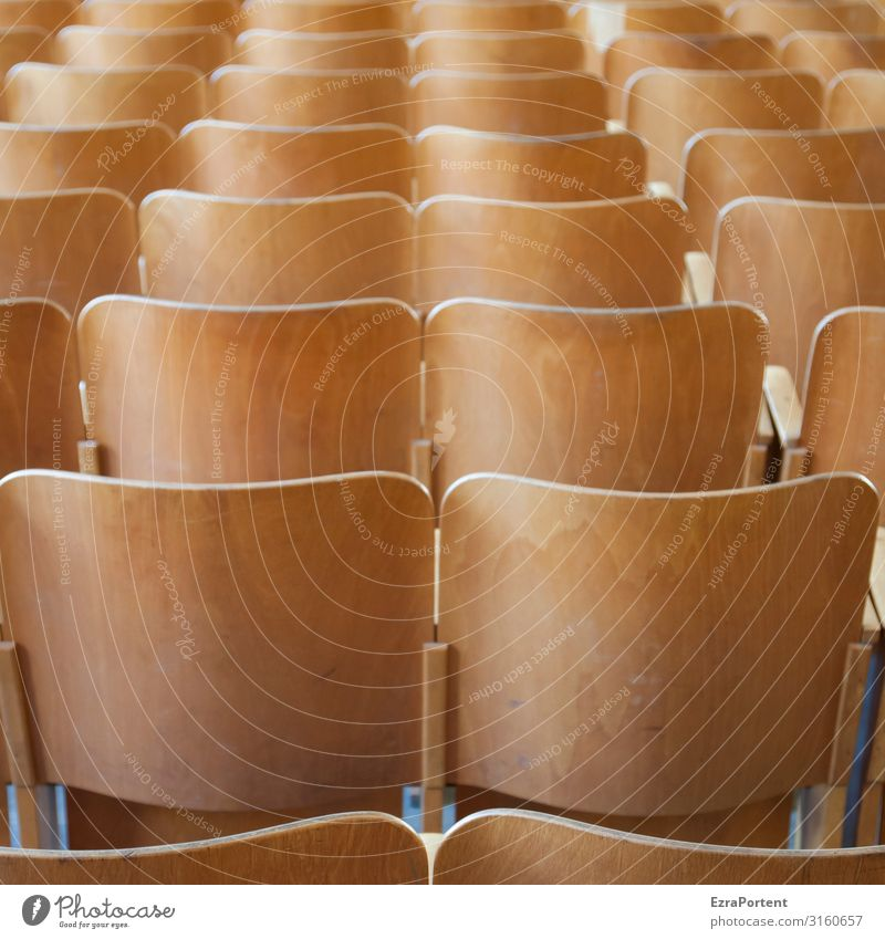 assembly hall Wood Brown Chair Backrest Many Assembly Auditorium Lecture hall Row Row of seats Seat Colour photo Interior shot Pattern Structures and shapes