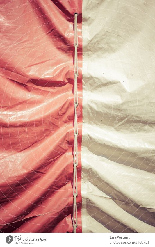 sign of aging Folds crease tarpaulin Tent Red Structures and shapes White Deserted Cloth Protection Wrinkles Abstract Pattern