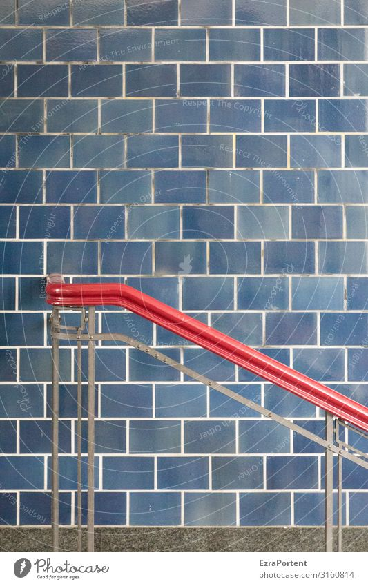 -\ Manmade structures Wall (barrier) Wall (building) Facade Line Stripe Blue Red Esthetic Design Handrail To hold on Hold Tile Graphic Colour photo Abstract