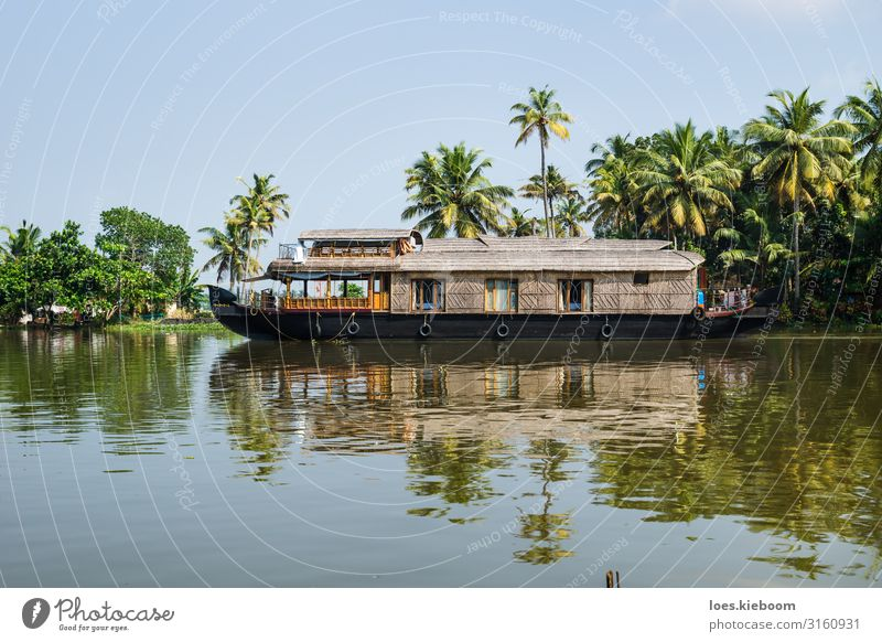 Traditional houseboat in the Kerala backwaters Vacation & Travel Tourism Trip Adventure Cruise Summer Nature Sunlight Exotic Virgin forest Coast Lakeside