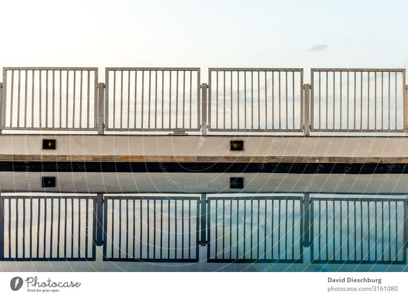 pool edge Water Sky Beautiful weather Blue White Handrail Fence Swimming pool Pool attendant Reflection Landscape format Line Grating Pool border Barrier