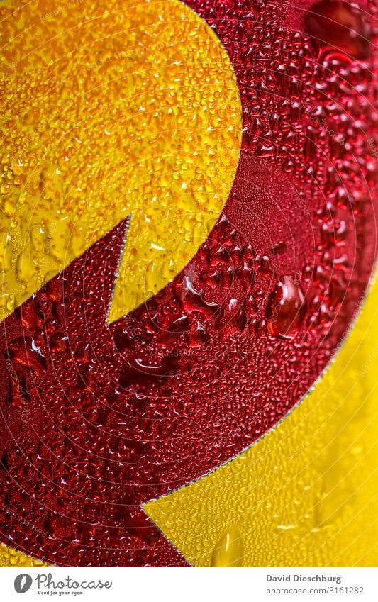 Water Red Yellow Cold Drops of water Wet Sign Beverage Direction Arrow Beer Refreshment Cold drink Tin Portrait format Condensation