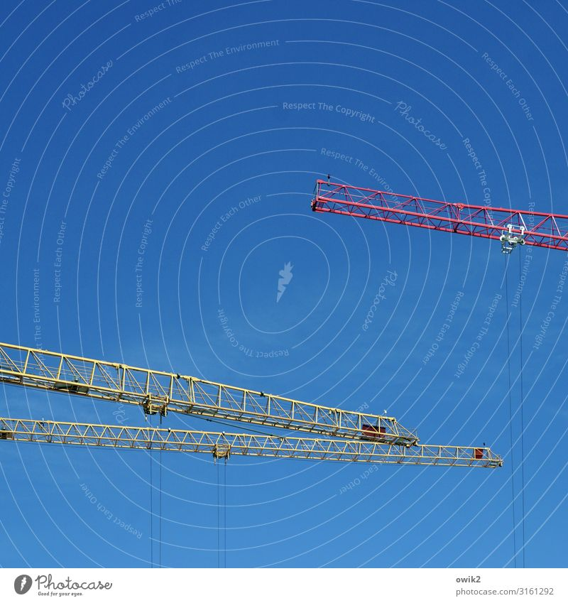 Blue Yellow Work and employment Above Free Technology Power Large Tall Construction site Capital city Cloudless sky Downtown Concentrate Argument Workplace