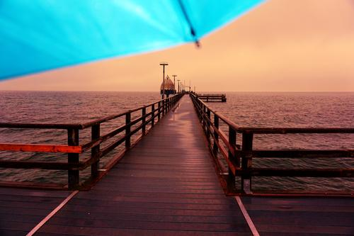 Sky Water Landscape Red Wood Autumn Environment Orange Horizon Idyll Beautiful weather Protection Safety Manmade structures Baltic Sea Dusk