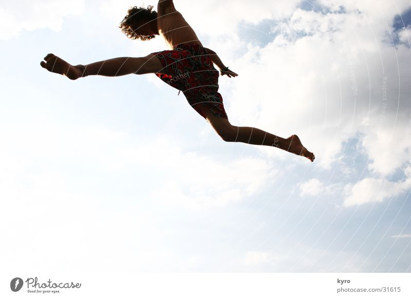 Sky Sun Summer Joy Clouds Warmth Jump Legs Flying Physics Athletic Music festival Movement Trampoline