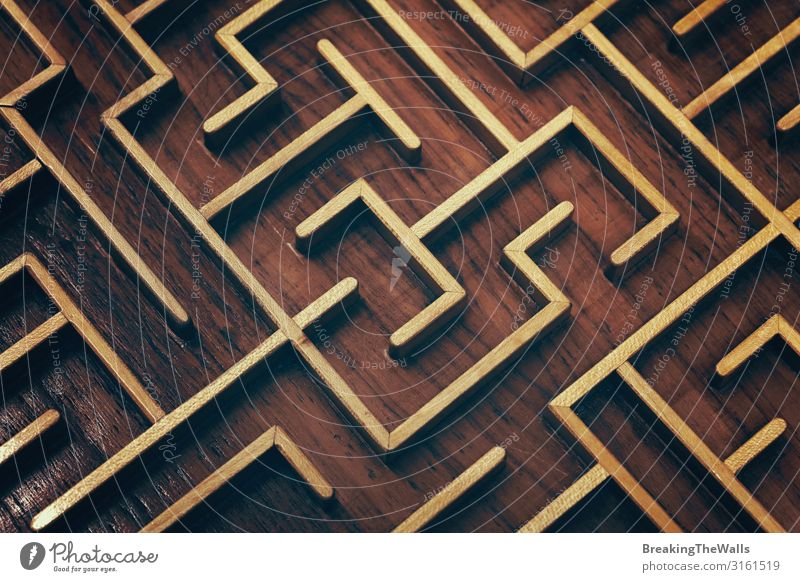 Wooden brown labyrinth maze puzzle close up Business Playing Brown Think Leisure and hobbies Creativity Symbols and metaphors Logistics Toys Barrier
