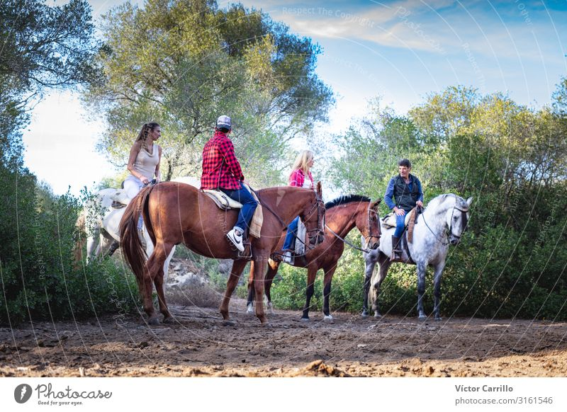 A group of people riding a horse in the nature Lifestyle Elegant Ride Human being Young woman Youth (Young adults) Young man Woman Adults Man 4 18 - 30 years
