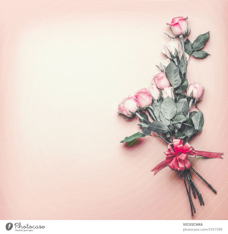 Romantic background with roses Elegant Design Feasts & Celebrations Valentine's Day Wedding Birthday Flower Rose Decoration Bouquet Bow Pink Background picture