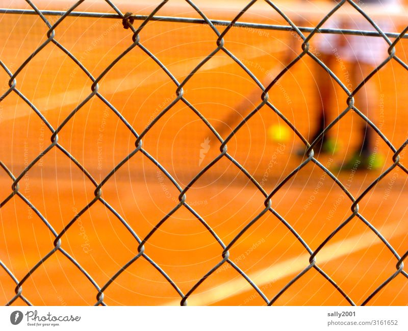 game - set - match... Tennis Tennis court Tennis ball Tennis player Tennis Game Wire netting fence Grating Net Sand place Red Sports workout blurred