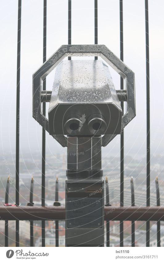 Far View | UT Hamburg Air Sky Autumn Bad weather Fog Port City Deserted Binoculars Telescope Glass Metal Gray Black Grating Shroud of fog Drops of water