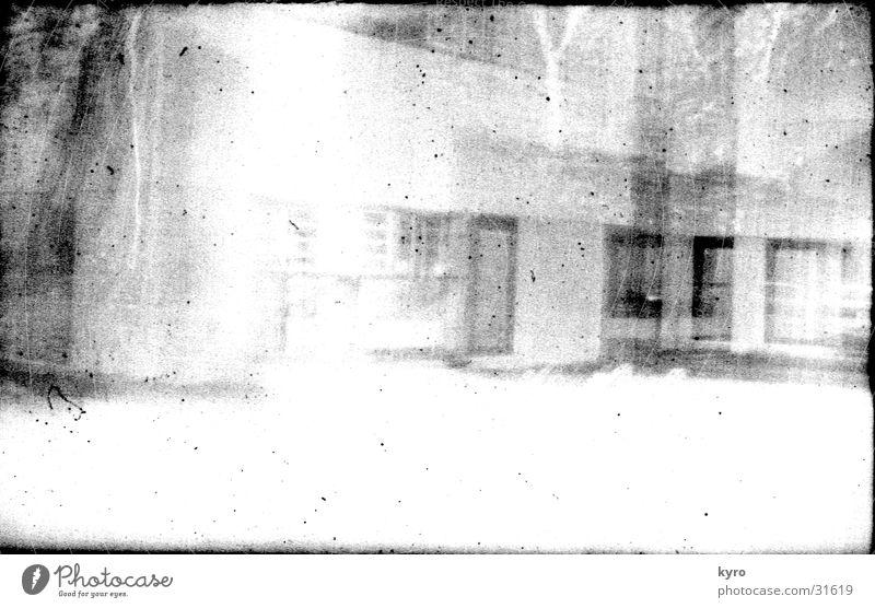 Photo experiment 1 Unclear Building Facade Window Scratch mark Overexposure Edge Negative Photo laboratory Experimental Invisible Bright