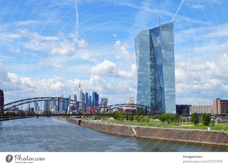 European Central Bank and Frankfurt skyline Germany Town Downtown Skyline Bank building Harbour Tourist Attraction Landmark Financial Industry Advancement Money