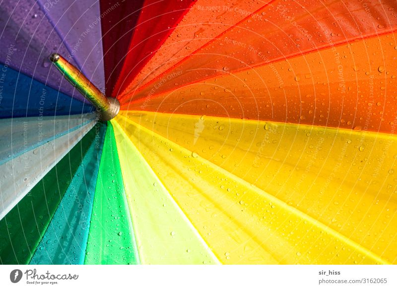 Colourful all around variegated Umbrella Point colors Rainbow Umbrellas & Shades Drop Wet spanned Rotate Prismatic colors Red Yellow green Violet segment