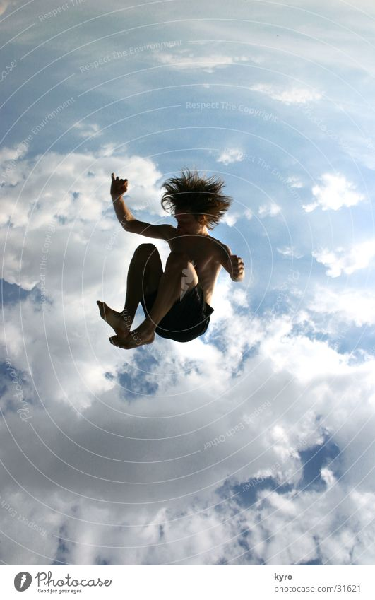without a parachute?! Clouds Sudden fall Speed Trampoline Strange To fall Flying Crouching Above Blue Sun