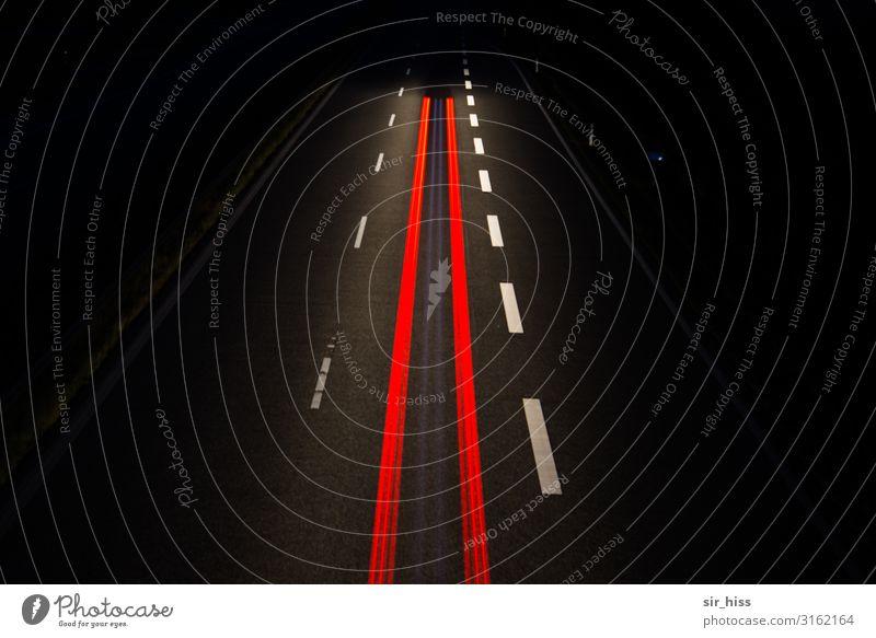 Red Black Lighting Line Transport Concrete Asphalt Highway Vehicle Motoring Night shot Traffic lane Lane markings Rear light Streak of light Center line