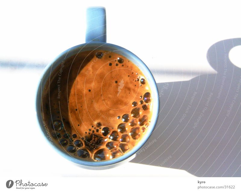 cup of coffee Café Cup Foam Round Carry handle Brown Strong Divide Beans Powder Kitchen Coffee Sun Blow Jump Blue Bright Shadow Above