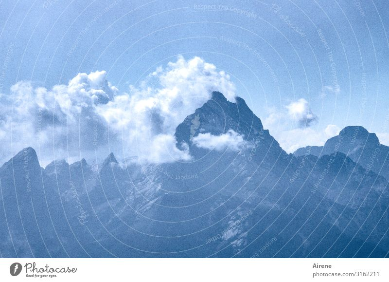 family constellation Mountain Sky Clouds Beautiful weather Alps Watzmann Peak Upper Bavaria Berchtesgaden Alpes Hiking Famousness Far-off places Gigantic Large