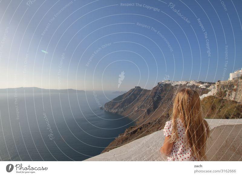 900 - good prospects Human being Feminine Girl Infancy 1 8 - 13 years Child Landscape Sky Beautiful weather Hill Ocean Mediterranean sea Aegean Sea Caldera
