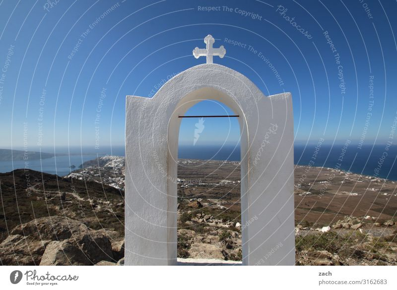 Gate to heaven Landscape Water Sky Hill Coast Ocean Mediterranean sea Aegean Sea Caldera Island Santorini Cyclades Greece Village Church Crucifix Blue Belief